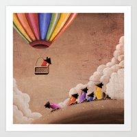 Up, Up & Away - balloon ride Art Print