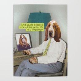 Basset Hound Mid Century Dog Poster