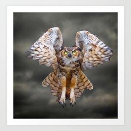 Great Horned Owl In Flight Art Print
