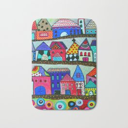 Mexican Town House of Colors Painting Bath Mat