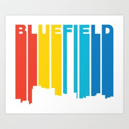 Retro 1970's Style Bluefield West Virginia Skyline Art Print