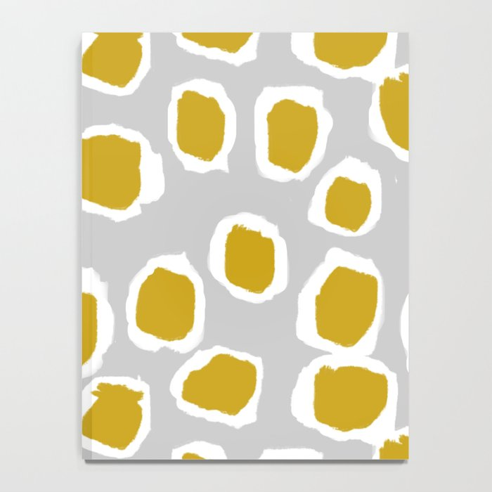Neela - Abstract design mustard and grey by Charlotte Winter Notebook