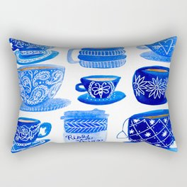 Coffee Mugs and Tea Cups - A study in blues Rectangular Pillow