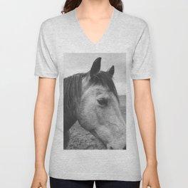 Horse Print in Black and White Unisex V-Neck