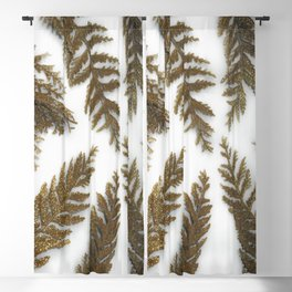 Golden Palm on White Blackout Curtain