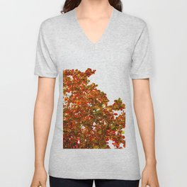 Red Leaves in Blue Unisex V-Neck