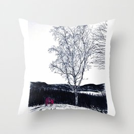 """Log Bay Views"" Lake George, Adirondack Chair, Mountains, Original Art Drawing Throw Pillow"