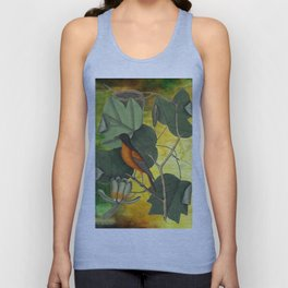 Baltimore Oriole on Tulip Tree, Vintage Natural History and Botanical Unisex Tank Top