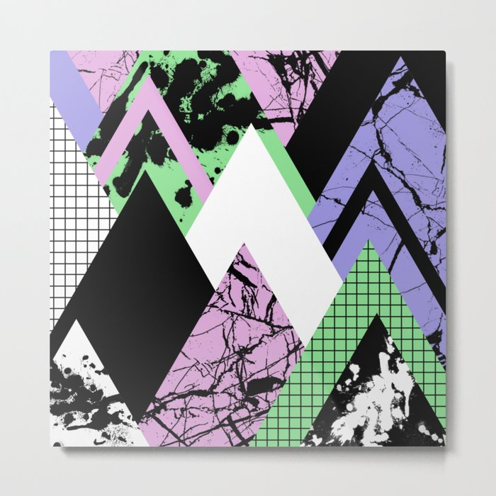 Textured Points - Marbled, pastel, black and white, paint splat textured geometric triangles Metal Print