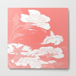 Living Coral japanese Flowers Metal Print