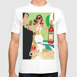1970 Campari Vintage Cordial Italian Riviera Amalfi Coast Aperitif Advertisement Poster T-shirt