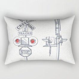 Railroad crossing watercolor Rectangular Pillow