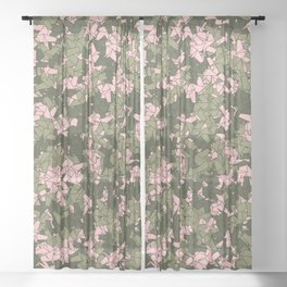 Origami Unicorn Camo PINK Sheer Curtain