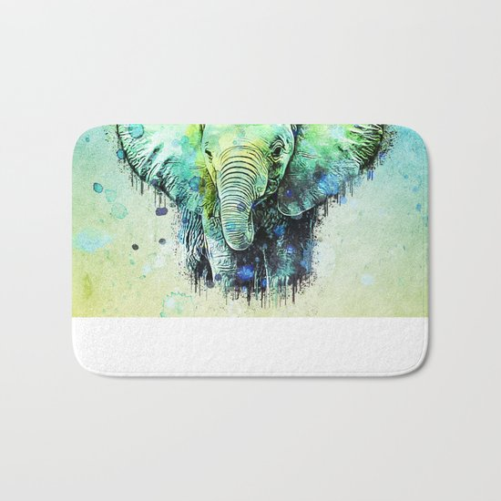 watercolor elephant Bath Mat