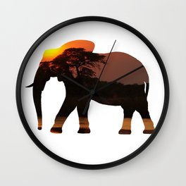 Elephant Silhouette with Africa Scene Inlay Wall Clock