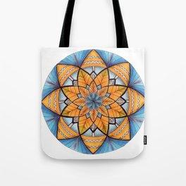 Sapphire-Gold Mandala (on white) Tote Bag