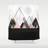 nordic Shower Curtains featuring Nordic Mountains by Elisabeth Fredriksson