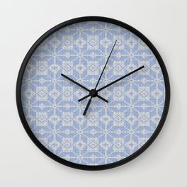 Knitted winter, blue - white pattern Wall Clock