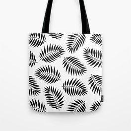 Palm Leaf Pattern in Black & White Tote Bag
