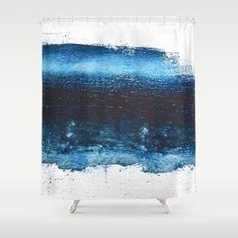 Lake Michigan: a pretty, minimal abstract piece in icy blues by Alyssa Hamilton Art Shower Curtain