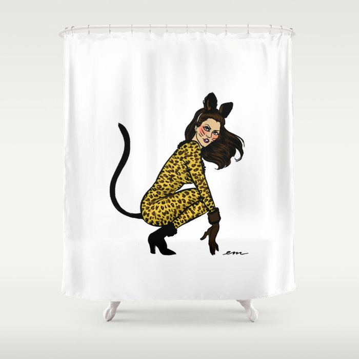 Kitty Cordy Pin Up Shower Curtain By Emmamunger