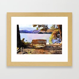 Bench at Derwentwater, Lake District, Cumbria, England. Watercolour painting Framed Art Print