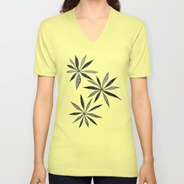 Elegant Thin Flowers With Dots And Swirls Unisex V-Neck