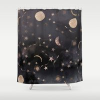 pink floyd Shower Curtains featuring Constellations  by Nikkistrange