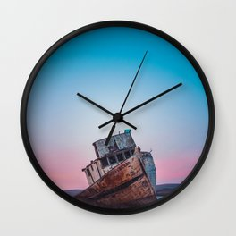 Point Reyes Shipwreck   Sunset Point Reyes Inverness California Landscape Travel Photography Wall Clock