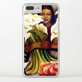 1938 Classical Masterpiece 'Alcatraces Flower Seller' by Diego Rivera Clear iPhone Case