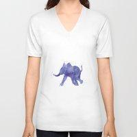 baby elephant V-neck T-shirts featuring Baby Elephant by Carma Zoe