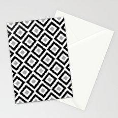 Black and White Diamond Ikat Stationery Cards