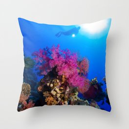Softcoral with diver Throw Pillow