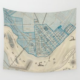 Vintage Map of Jefferson Indiana (1876) Wall Tapestry