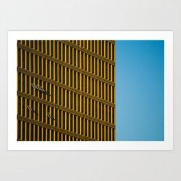 Yellow City Blue Sky Art Print