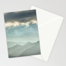 Sunrise at the misty mountains. Stationery Cards