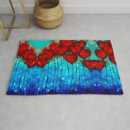 Hearts On Fire - Romantic Art By Sharon Cummings Rug