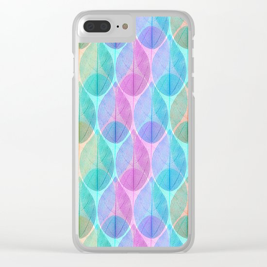 Colored Leaf Skeleton Pattern 2 Clear iPhone Case