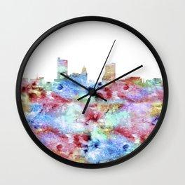 Fort Wayne City Skyline Wall Clock