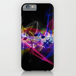 Colorful musical notes and scales artwork iPhone Case