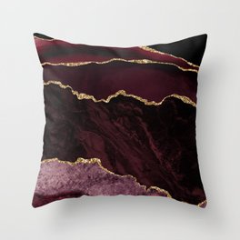 Burgundy Geode & Gold Glitter // 02 Throw Pillow