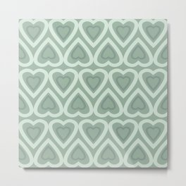 Love Hearts - Pastel Green Metal Print