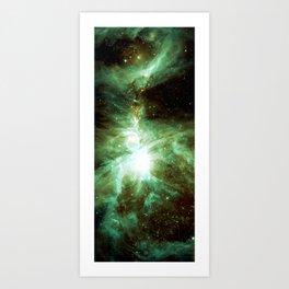Galaxy : Orion Nebula Green Art Print