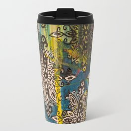 Scrambled Design in Teal, Yellow and Magenta Travel Mug