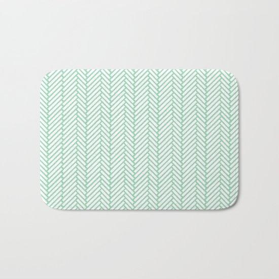Herringbone Mint Bath Mat