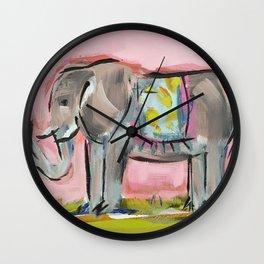 Elated Elephant Wall Clock