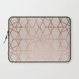 Modern rose gold geometric lines abstract pattern on taupe Laptop Sleeve