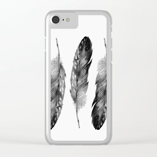 Three Feathers Black And White Clear iPhone Case