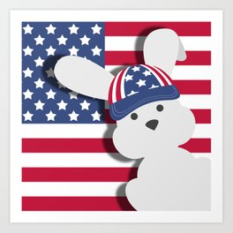 INDEPENDENCE DAY BUNNY Art Print