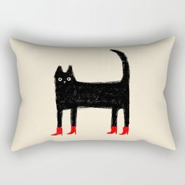 Black Cat in Red Boots Rectangular Pillow